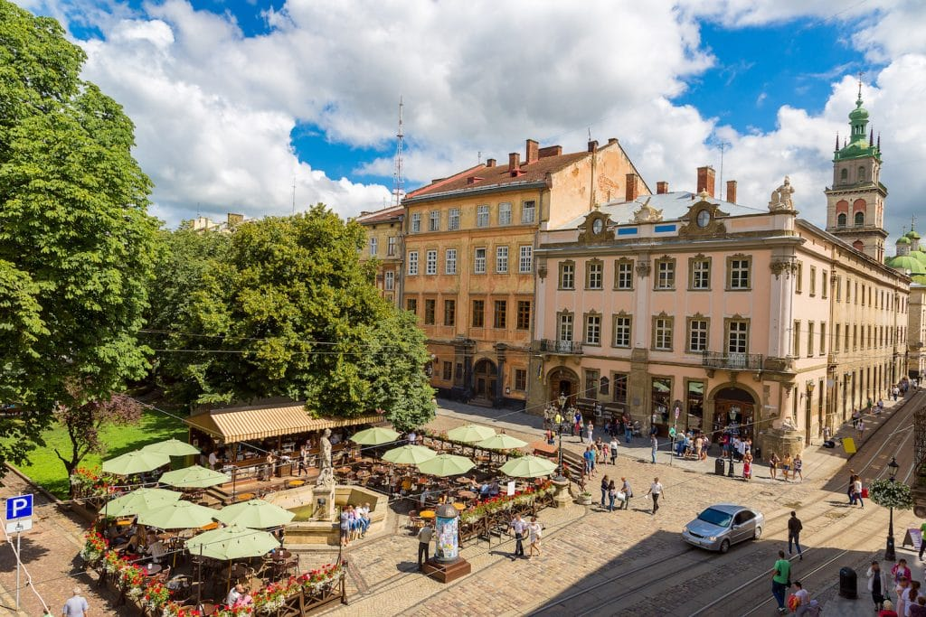 LVOV, UKRAINE - MAY 11: Market square - historical and tourist centre of the town on May 11, 2014 in Lviv, Ukraine.
