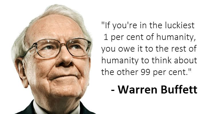 Warren Buffett to give money up to 99 percent of his estate.