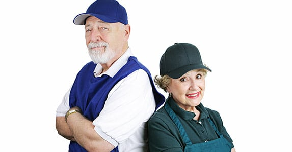 elderly man and woman working part time