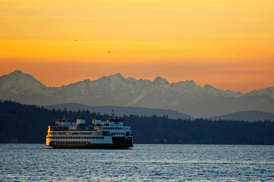 Ferry and sunset