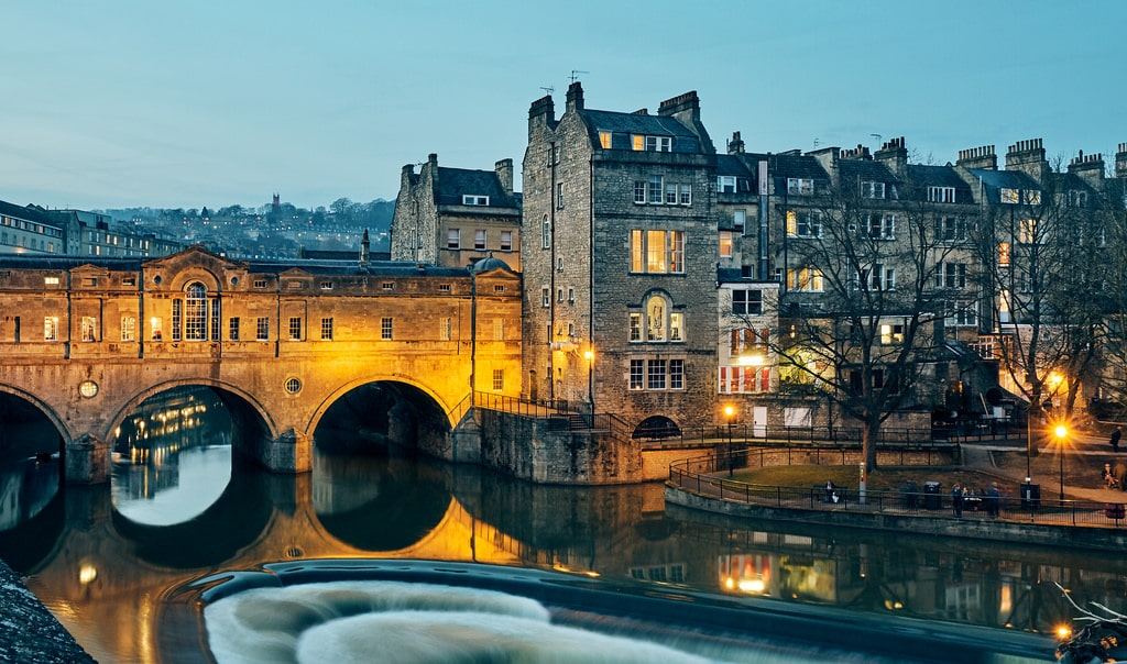 night view from the river of bath, england