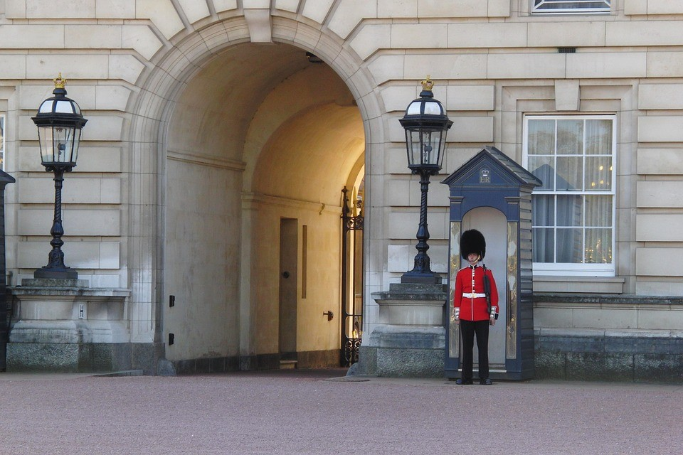 a guard standing and guarding the gate