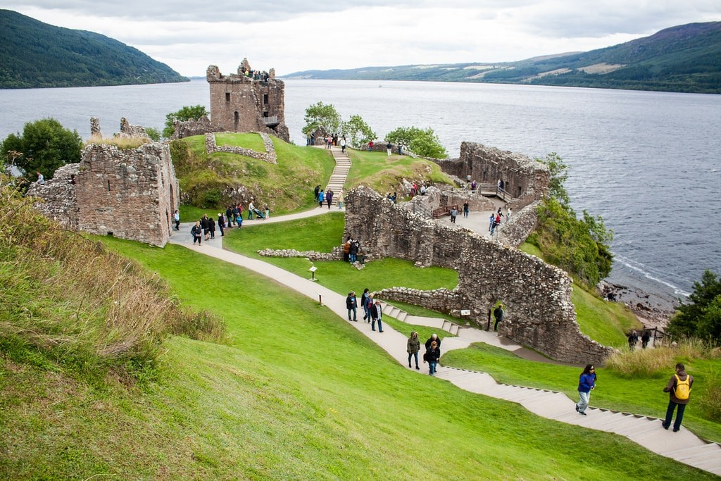 tourist people visit urquhart castle