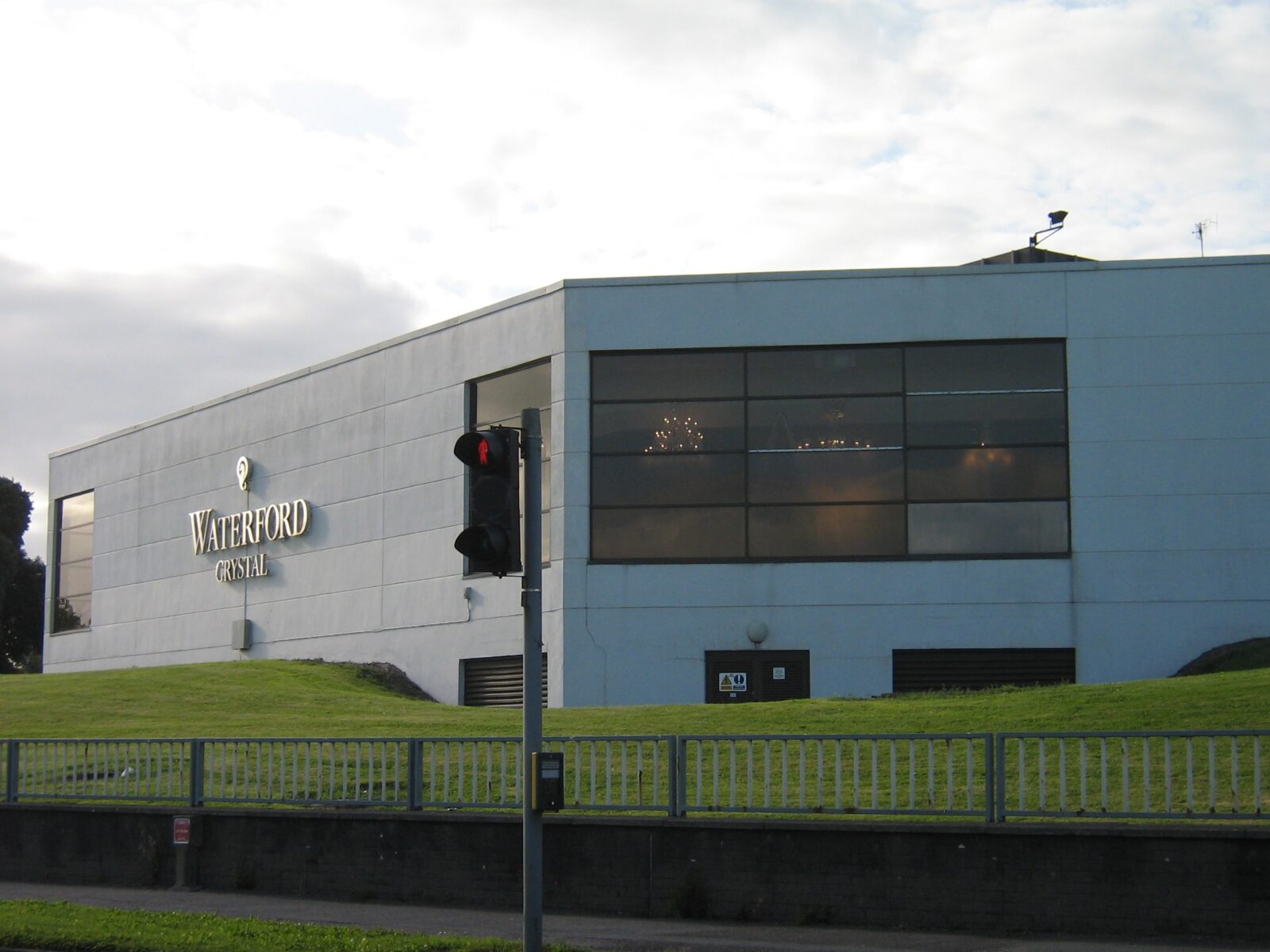side shot from the outside of waterford crystal building