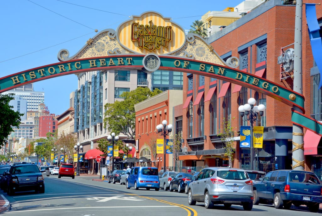 SAN DIEGO CA USA 04 08 2015: The Gaslamp Quarter in San Diego, California, The Gaslamp Quarter extends from Broadway to Harbor Drive, and from 4th to 6th Avenue.