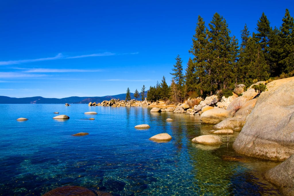Clear Lake Tahoe on a sunny day