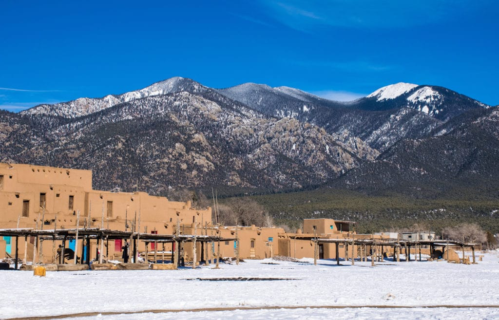 Winter at Taos Pueblo in Northern New Mexico an acient historical area from the Native Americans in America