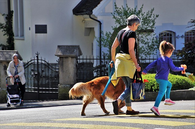 woman and child walking the dog to illustrate part time job for people over fifty